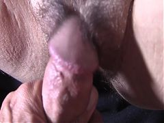 Small cock cums on hairy pussy – SPH