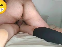 Pierced cock creampie on hairy pussy